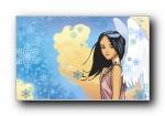 雪天使 Windows 7主题女孩宽屏壁纸