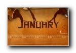 2011年1月一月月历宽屏壁纸