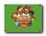 Mocmoc、Hami、Sinbawa 可爱卡通圣诞壁纸