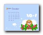 2012年10月(十月)月历壁纸 腾讯篇 (宽屏+普屏)