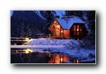 《雪夜》雪地夜景宽屏壁纸