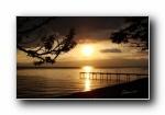 奥赫里德湖日落 宽屏壁纸