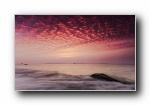 中国海滩沙滩日出日落夕阳宽屏壁纸