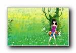 《画儿晴天》浪漫女孩插画宽屏壁纸