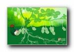 《就我俩》喜喜欢欢 情侣可爱卡通绿色宽屏壁纸