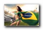 2014年巴西世界杯 MOKO 美空美女模特足球宝贝宽屏壁纸
