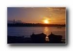 �W洲多瑙河日落�L光�L景��屏壁�