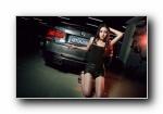宝马3系F35 改装车美女模特姜语馨宽屏壁纸