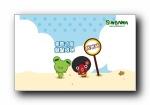 Sinbawa沙滩系列可爱卡通宽屏壁纸