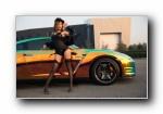 日产GT-R 改装车美女模特闫佳琪宽屏壁纸