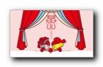 蘑菇点点中式婚礼可爱卡通宽屏壁纸