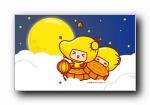 《中秋》哈咪猫,芒果仔,摩丝摩丝,秋田君,油爆叽丁可爱卡通宽屏壁纸