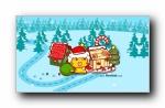 哈咪猫 圣诞节可爱卡通宽屏壁纸