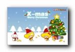 2017可爱卡通快乐圣诞宽屏壁纸(秋田君、芒果仔、士巴蛙、碳巴蛙)