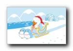 鸭嘴兽男孩 圣诞节可爱卡通宽屏壁纸(第二辑)