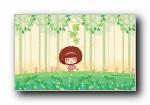 摩丝摩丝植树节可爱卡通宽屏壁纸
