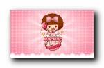 摩丝摩丝 粉红色简约可爱卡通宽屏壁纸