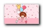 摩丝摩丝粉红春天可爱卡通宽屏壁纸