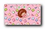 摩丝摩丝《好好学习》可爱卡通宽屏壁纸