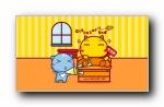 哈咪猫和好朋友 可爱卡通宽屏壁纸