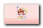 摩丝摩丝 生日快乐 可爱卡通宽屏壁纸