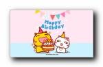 哈咪猫《生日快乐》可爱卡通宽屏壁纸