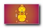 哈咪猫过中秋 可爱卡通宽屏壁纸
