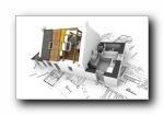 别墅建筑设计立体壁纸