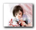 手绘水彩清纯学生妹壁纸