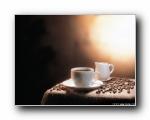 香浓咖啡与咖啡豆壁纸